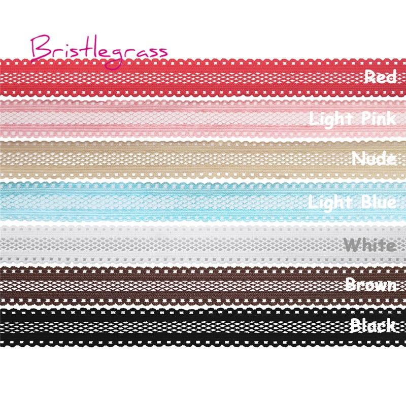 "BRISTLEGRASS 5 Yard 5/8""15mm Solid Color Mesh Spandex Lace Trim Elastic Bands Kids Hairband Headband Tie Dress DIY Sewing crafts"