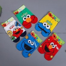 Sesame Street Sock for Woman Dult Casual Ladies Elmo Cookie Monster Creative Socks Cotton Spring Trendy Asymmetric Calcetines