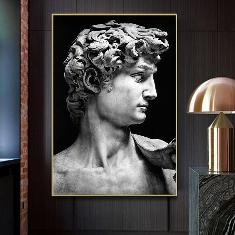David Escultura Da Cabeça preto e Branco Pintura Da Lona Pictures Cuadros Posters e Impressões Da Parede Da Arte para Decoração de Sala de estar
