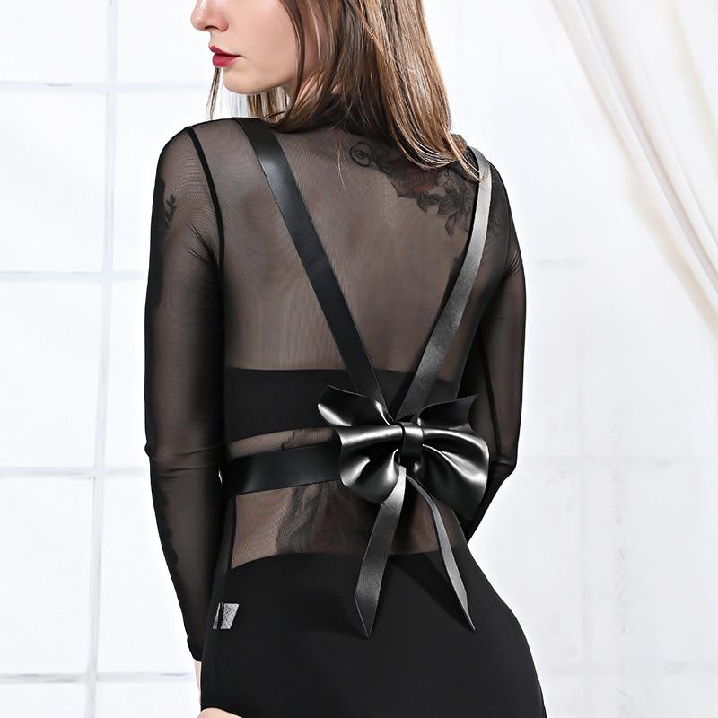 Women Sexy Lingerie Leather Harness Bdsm Bondage Gothic Garter Belt Strap Stocking Bows Harajuku Suspender