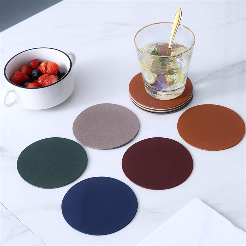 4Pcs Cup Mats Heat Insulation Waterproof Faux Leather Wear Resistant Double Layer Design Cup Coaster Kitchen Mats