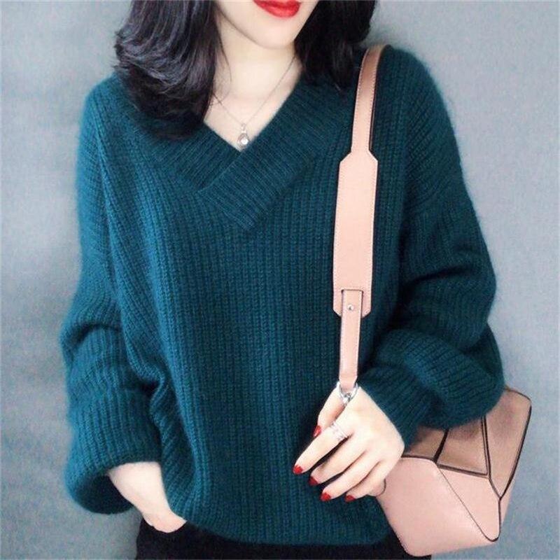 Пуловер с рукавами-фонариками в новом стиле на осень и зиму, женская трикотажная рубашка, свободный толстый свитер в Корейском стиле с v-обра...