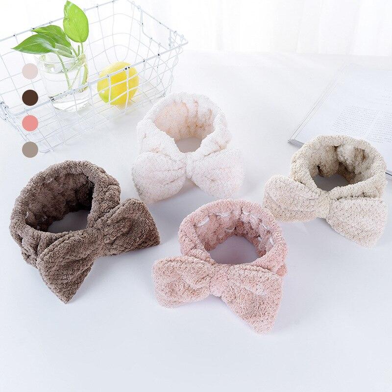 Microfiber Cute Bow Headband Coral Fleece Soft Makeup Headwear Women Washing Face Solid Color Elasti