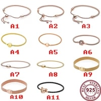 2020 new original pan bracelet 925 sterling silver retractable classic exquisite watch chain suitable for womens jewelry