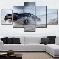 5 panel luxury challenger muscle car posters hd canvas wall art pictures decoration accessories living room home decor paintings