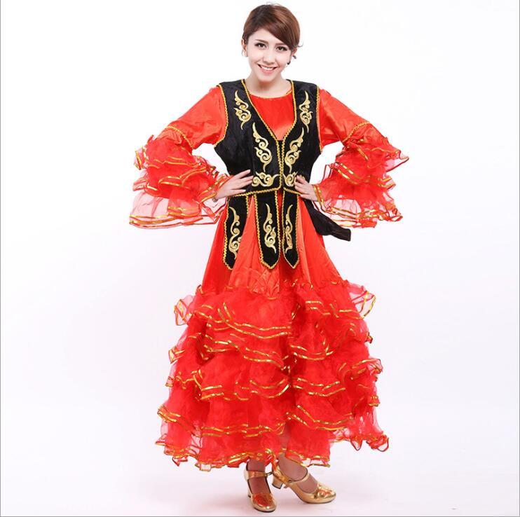 Women Xinjiang national costume Kazakh costume Kazakh dance costume Uygur costumes Dress