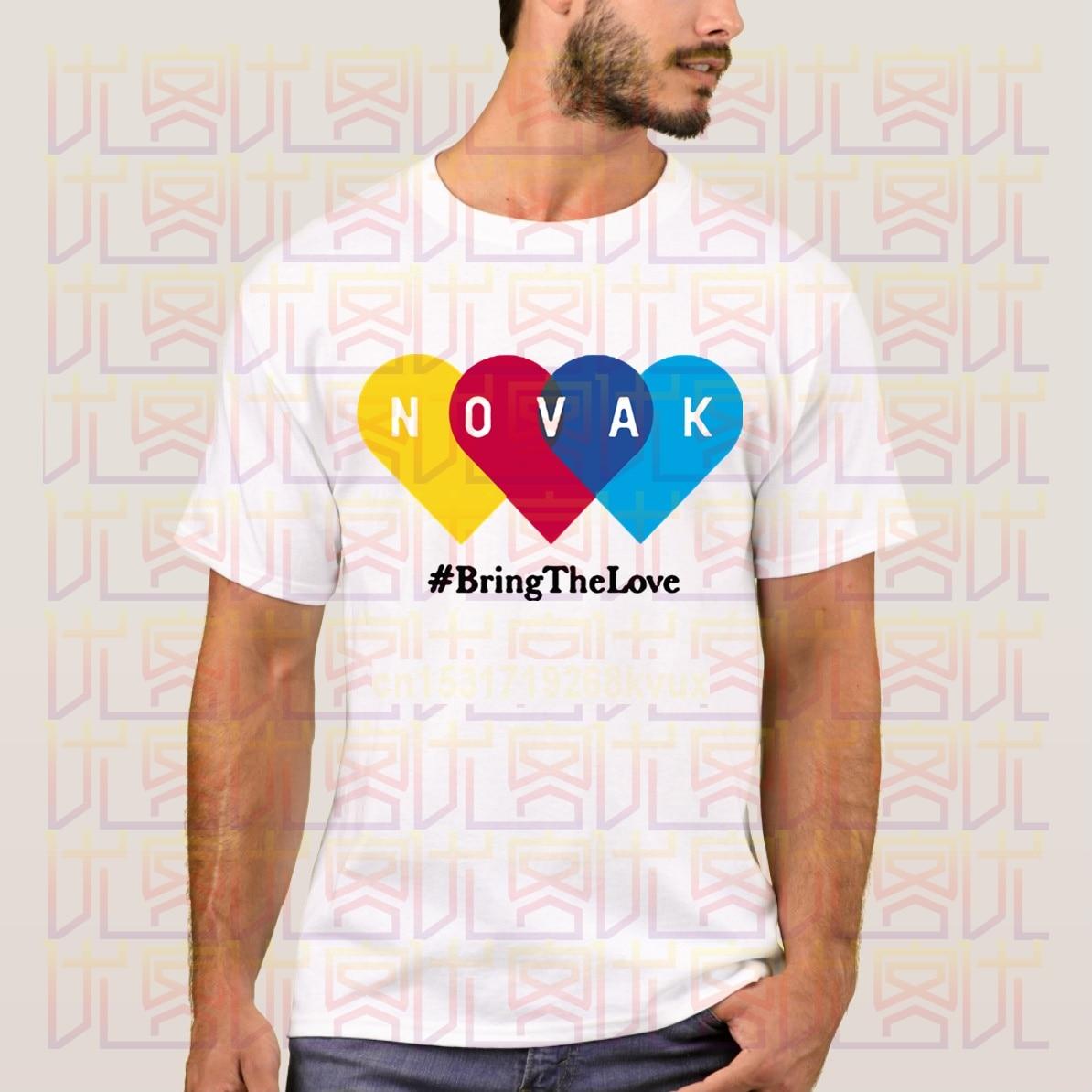 Новейшая летняя футболка с логотипом Novak Bring The Love Grand Slam US Open Wimbledon Championshi, 100% Повседневная хлопковая футболка, 2020