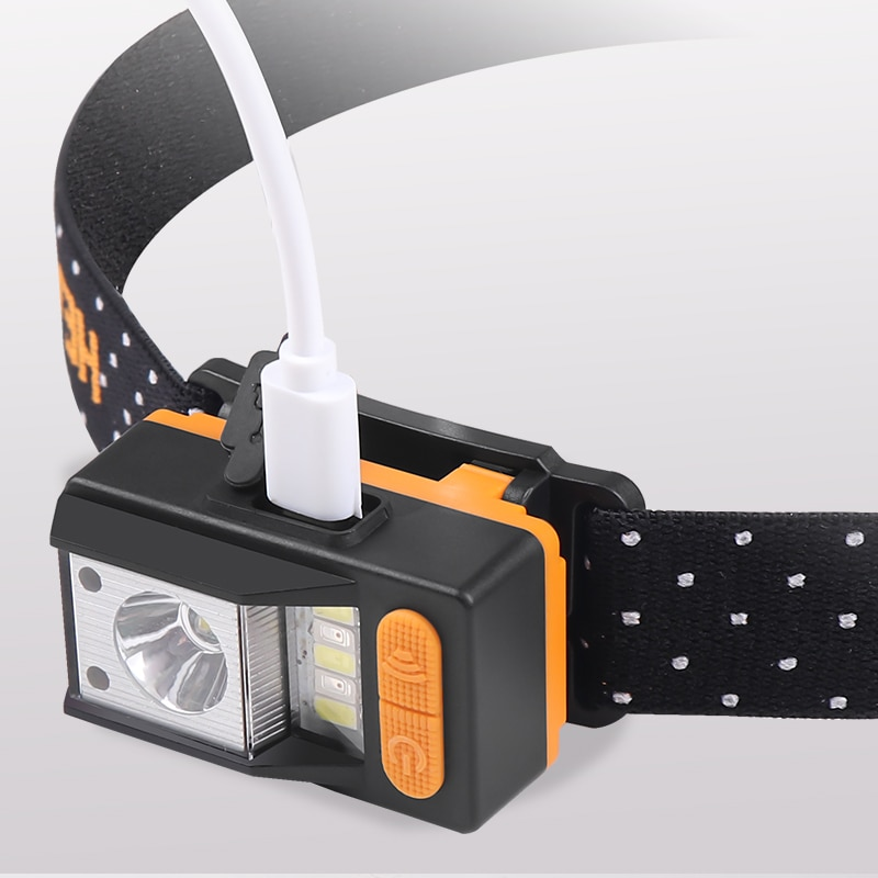 30000LM XPE+5*LED Headlmap Motion Sensor Headlight 9 Modes Head Lamp With Built in Battery Red Warning Light Camping Fishing Led enlarge