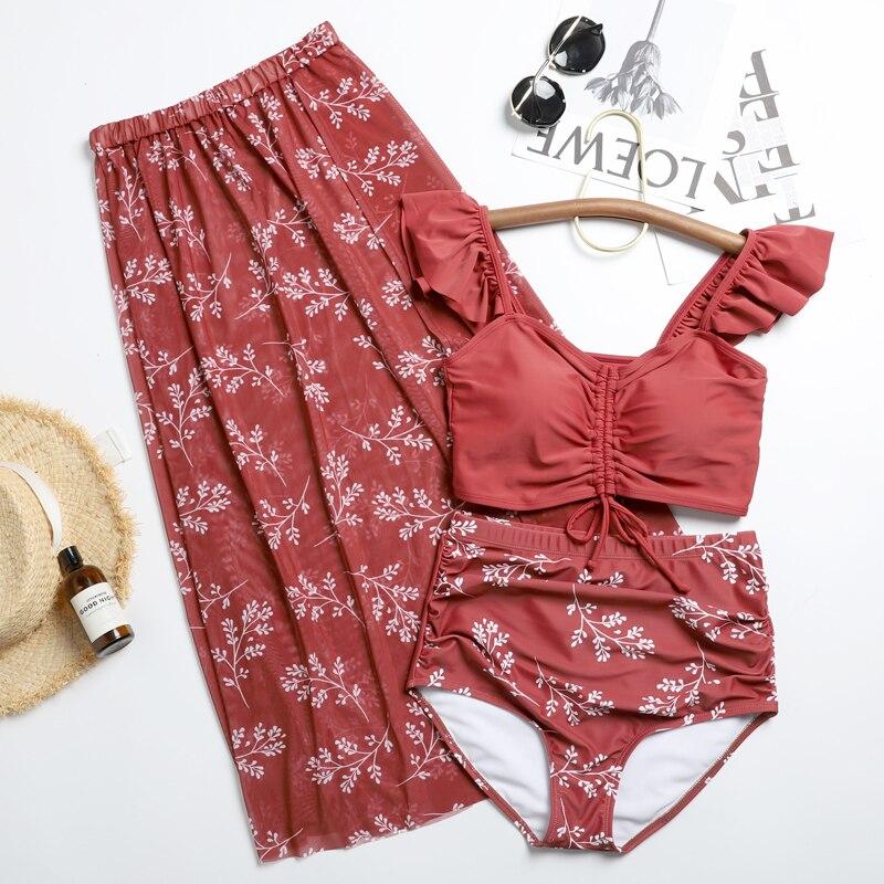Корейский танкини srt купальный костюм для женщин с принтом бикини из трех частей праздничный раздельный купальник женский горячий весенний купальный костюм