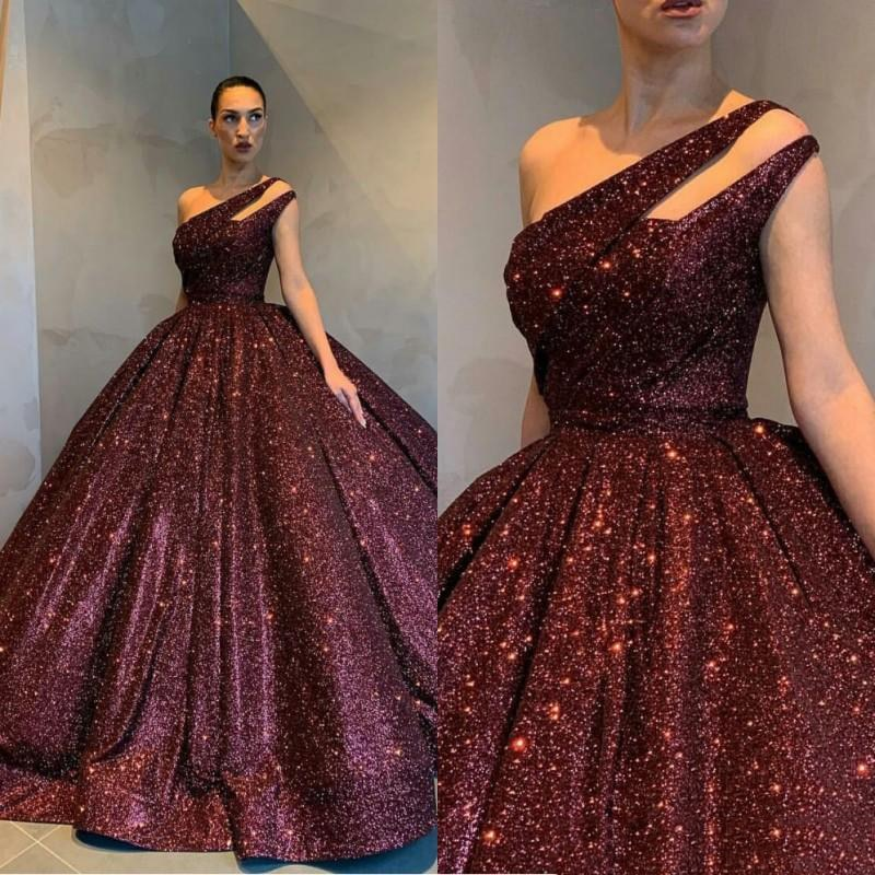 Hot Evening Reflective Dresses Burgundy Sleeveless Ball Gown Sequined One Shoulder Holiday Wear Celebrity Prom Gowns Plus Size