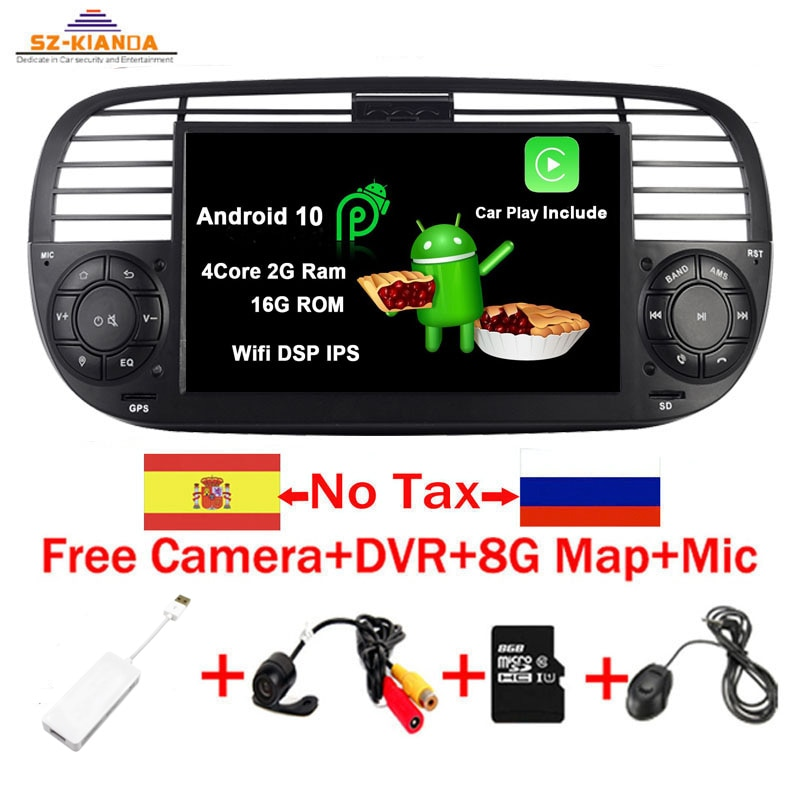 In Stock Android 10.0 Quad Core Car Dvd media Player FOR FIAT 500 Radio GPS DPS WIFI 3G Bluetooth St