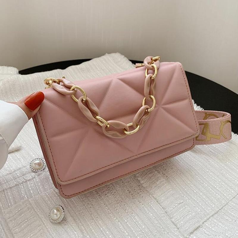 جديد حقيبة كتف واسعة حزام الصلبة ساحة حقائب كروسبودي للنساء 2021 تصميم الأزياء محفظة وحقائب اليد سلسلة الإناث عبر الجسم