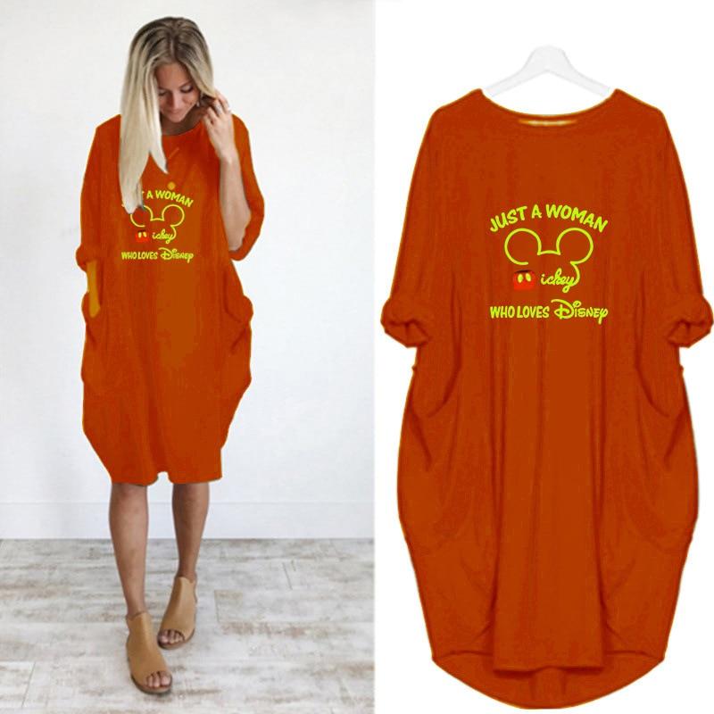 ¡Novedad de 2020! Bolso grande informal de manga larga con impresión personalizada para mujer, vestido de largo medio estampado de Disney