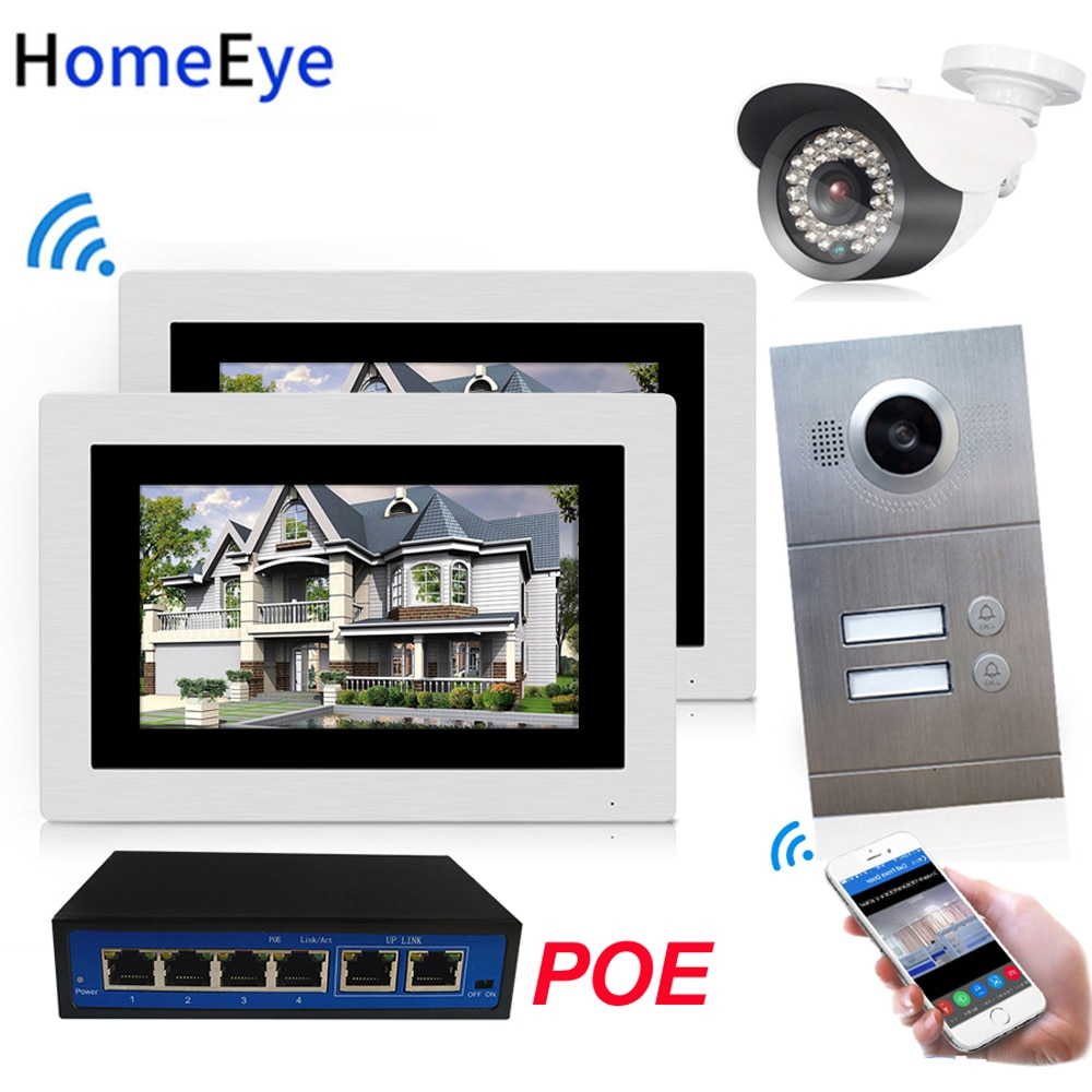 720P WiFi IP Video Door Phone Video Intercom 2-Apartments Door Access Control System iOS/Android APP Remote Unlock POE/IP Camera