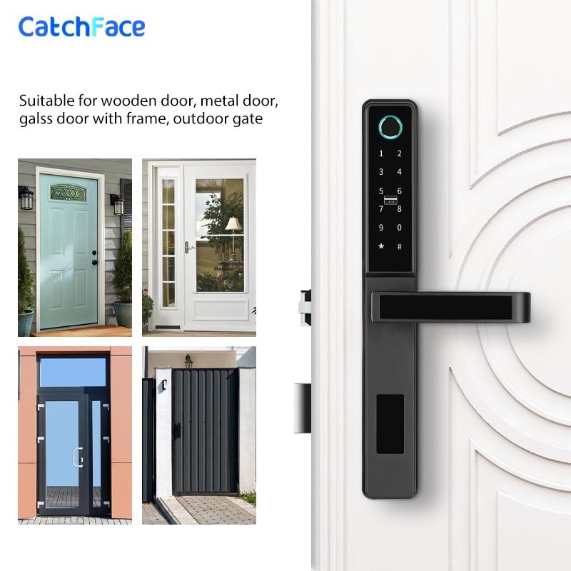 Waterproof Keyless bluetooth reader Fingerprint Digital Push Pull Smart Door Lock for Glass Sliding or Wooden Home Door