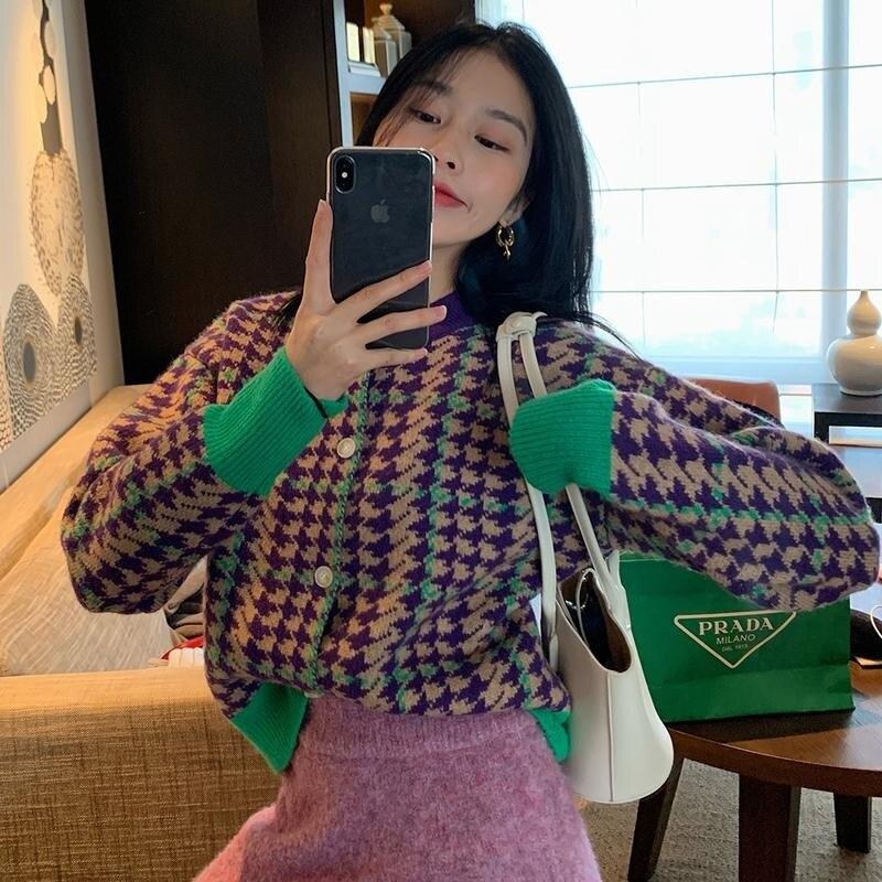 Cmazcmazhh9 stبتقنية التباين اللون سترة سترة المرأة شتاء جديد الكورية نمط قمة الموضة متماسكة