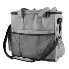 Dog Travel Bag Pet Gear Organizer Bag with 2 Food Container Cat Tote Storage Bag with Multi Pockets