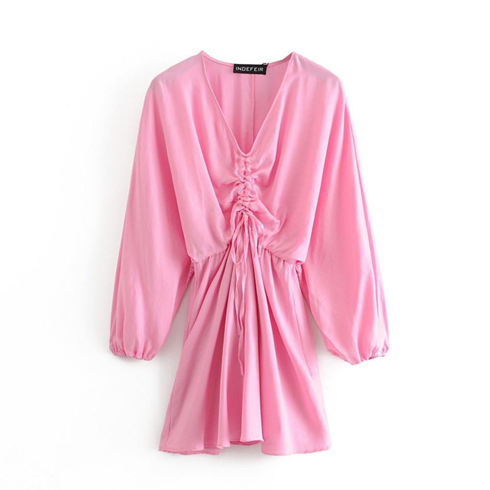 2020 Spring Women's New V-neck Long Sleeve Elastic Cuff Bow Short Dress Silk Satin Texture Pleated Mini Dress