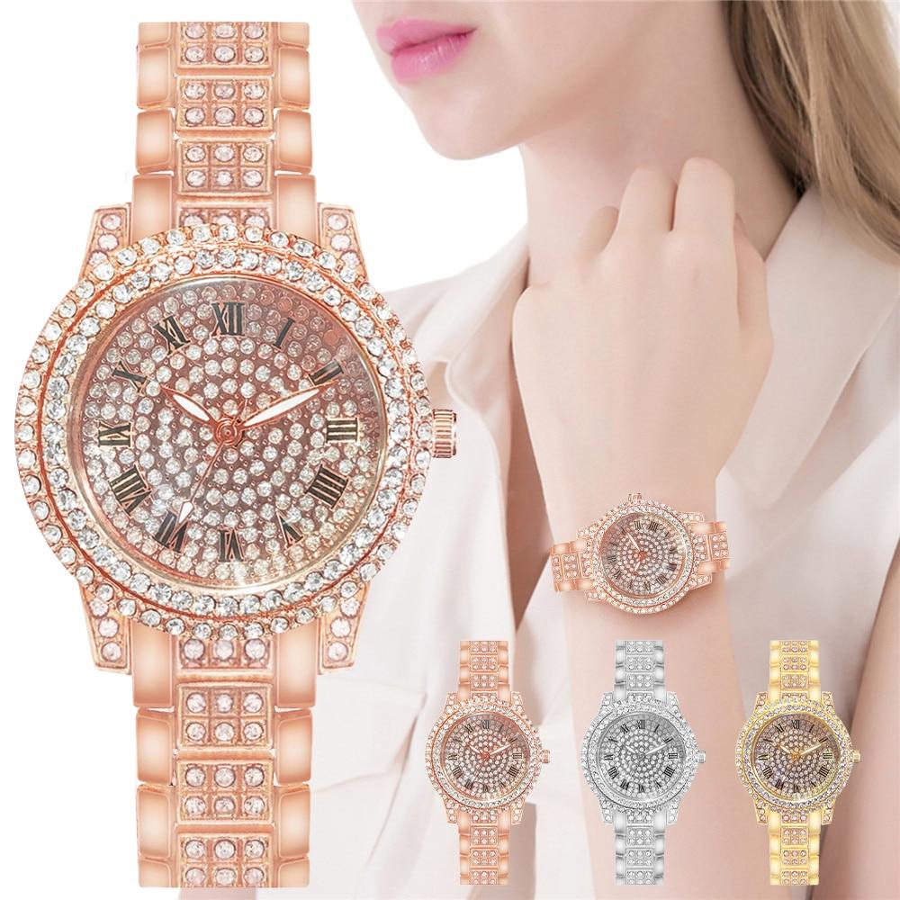 Women Full Diamond Watches Luxury Rose Gold Waterproof Bracelet Rhinestone Wrist Watches Relogio Fem