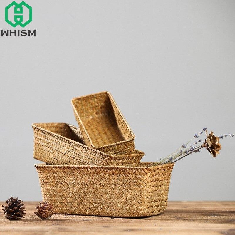 WHISM cesta de almacenamiento de mimbre, caja de almacenamiento de frutas, sostenedor de té hecho a mano, canasta de Picnic, cesta de mimbre, organizador de cosméticos