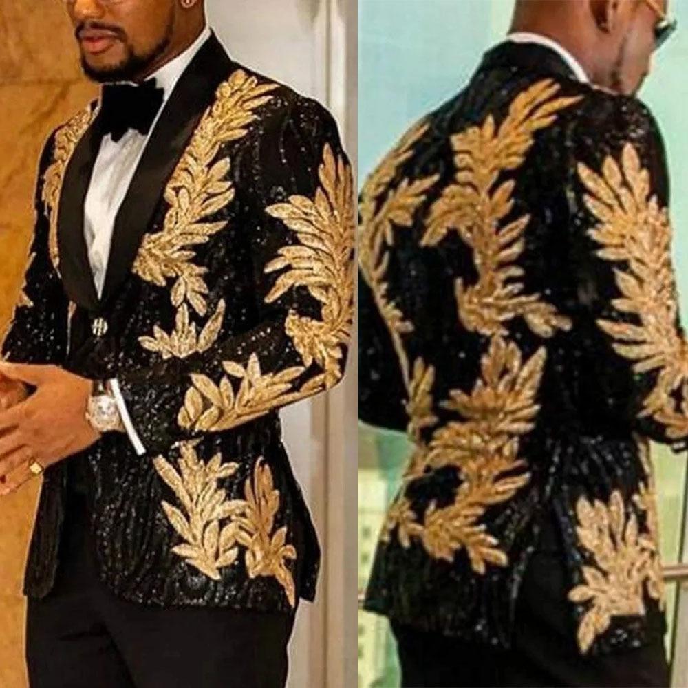 Glitter Gold Embroidery Jacket+Pants Groom Wear Slim Fit Black Custom Made Men Suits For Wedding Pro