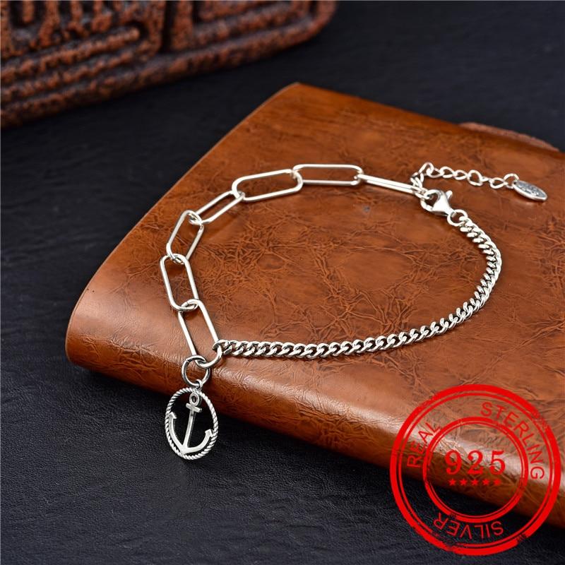 Joyería 100% Plata de Ley 925 pulsera ancla colgante cadena hecha a mano Boutique regalo de boda fiesta de lujo plata 925 pulsera