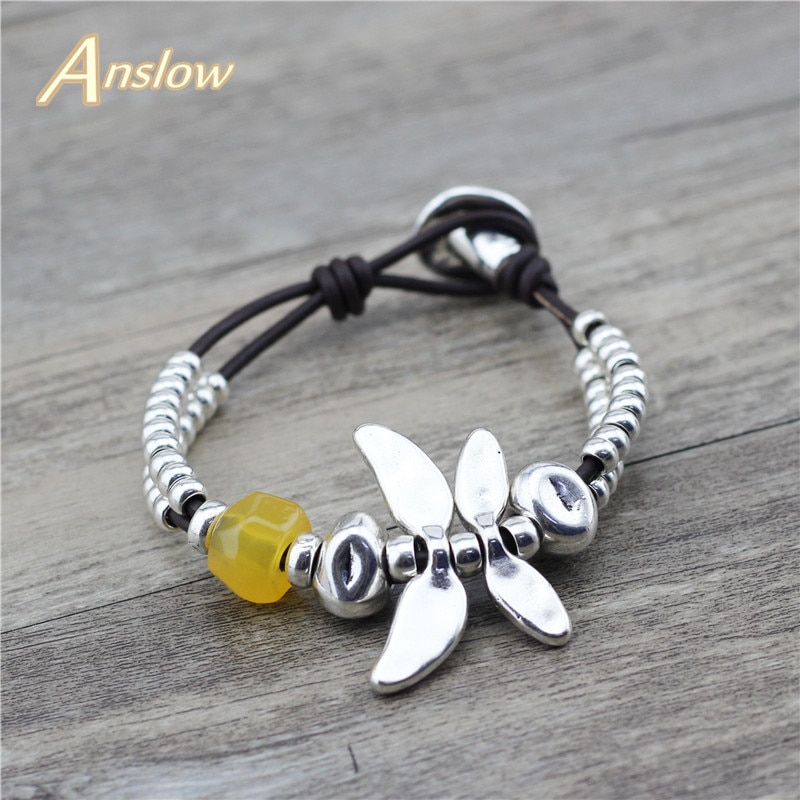 aliexpress.com - Anslow Brand Fashion Jewelry Elegant Women Charms Color Dragonfly Female Leather Bracelet Mothers' Day Free Shipping LOW0798LB