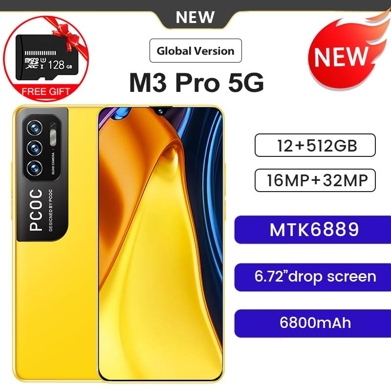 الإصدار العالمي PCOC M3 Pro 6.7 بوصة FHD + شاشة الهاتف الذكي 12 + 512G ثماني النواة 32MP كاميرا ثلاثية 6800mAh بطارية أندرويد الهاتف المحمول
