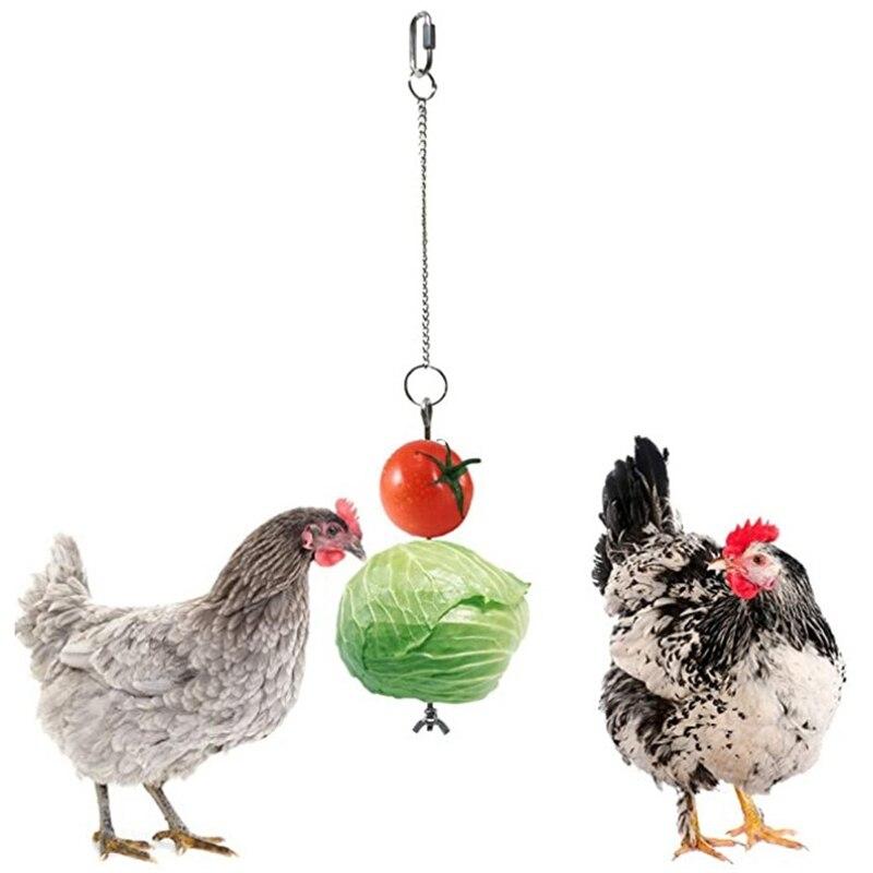 Hanging Food Vegetable Fruit Chicken Feeder Toy Reusable Stainless Steel food Holder for Birds Tableware Skewer Feeding Supplies недорого