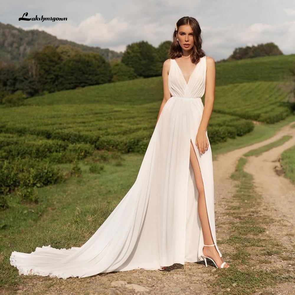 Vestido de novia sencillo de gasa con escote triangular, prenda de vestir...