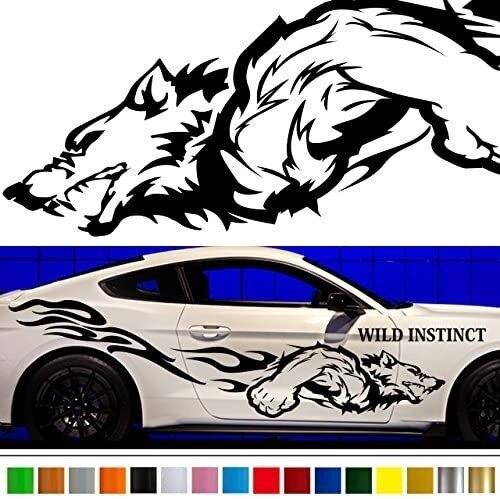 Автомобильная виниловая наклейка волка с боковой графикой wa60 Автомобильная виниловая наклейка на заказ наклейки s