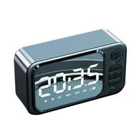 portable wireless bluetooth speaker creative led alarm clock mini tf card aux fm desktop clock decoration speaker