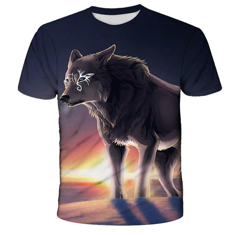 Детская футболка с волком, летняя одежда с животными, 3D модная футболка с волком, уличная одежда для мальчиков, футболки в стиле хип-хоп, крут...