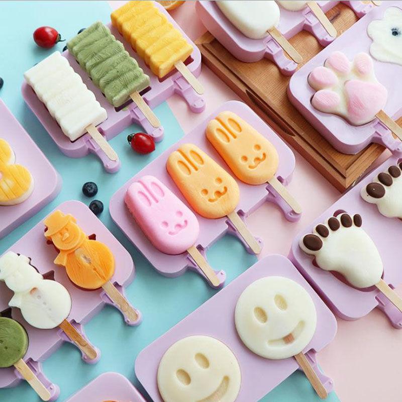 Moule à glace en Silicone, mignon, dessin animé, pratique, ensemble doutils pour la fabrication de glaces, accessoires de cuisine créatifs