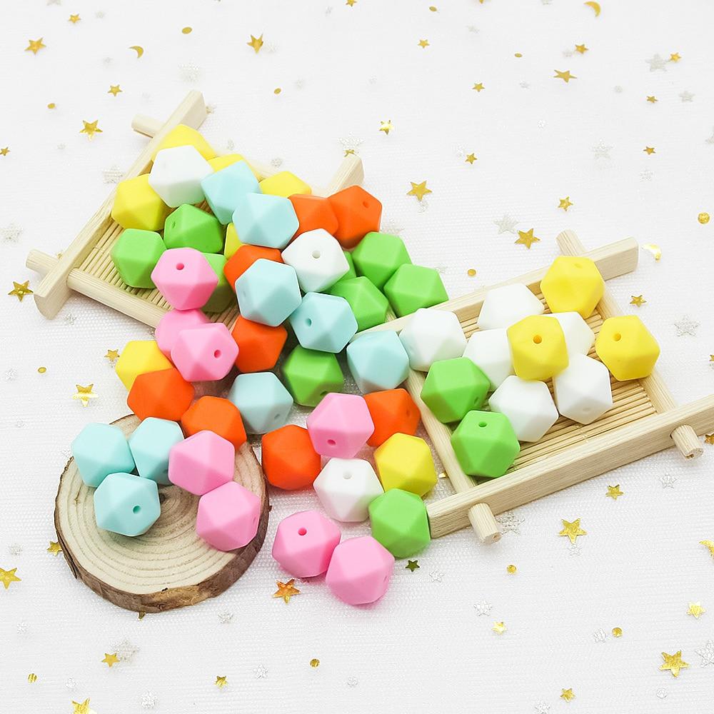Детские игрушки Cute-idea, 14 мм, 30 шт., экологически чистые шестигранные силиконовые бусины, игрушки для прорезывания зубов, без БФА