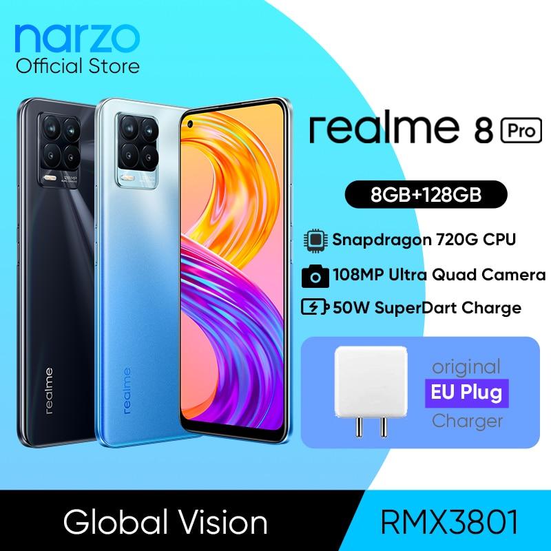 Global Version realme 8 Pro 108MP Camera Snapdragon 720G Smartphone 6.4'' Display AMOLED 50W Super Dart Charge 4500mAh Battery