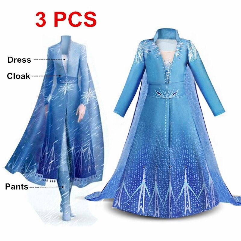 Nuevo vestido para niñas, conjunto de 2 princesas Elsa, Cosplay de Navidad, fiesta de cumpleaños Elsa, vestido de princesa azul cielo, 4-10 años de edad