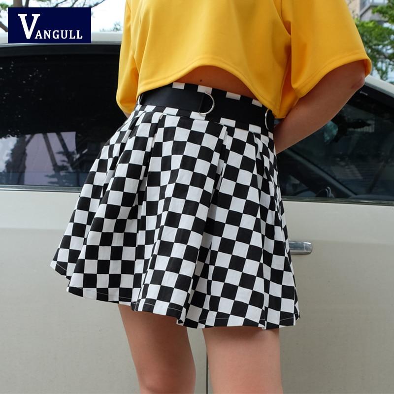 Vangull, faldas plisadas a cuadros de cintura alta para mujer, falda a cuadros Harajuku, faldas cortas para correr de estilo coreano
