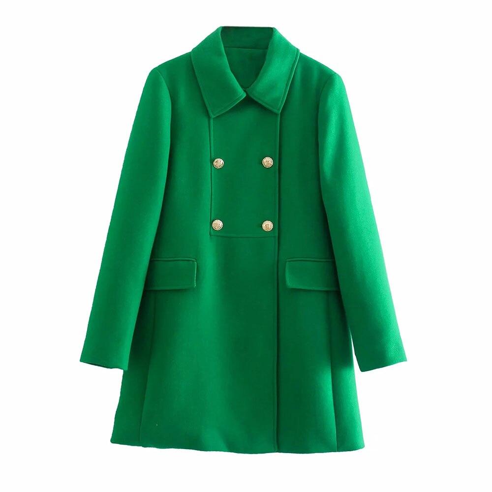 BBWM 2021 المرأة الأنيقة الخضراء بزة بأكمام طويلة الإناث خمر مكتب سيدة مزدوجة الصدر ضئيلة السترة بلوزة عادية شيك ميدي