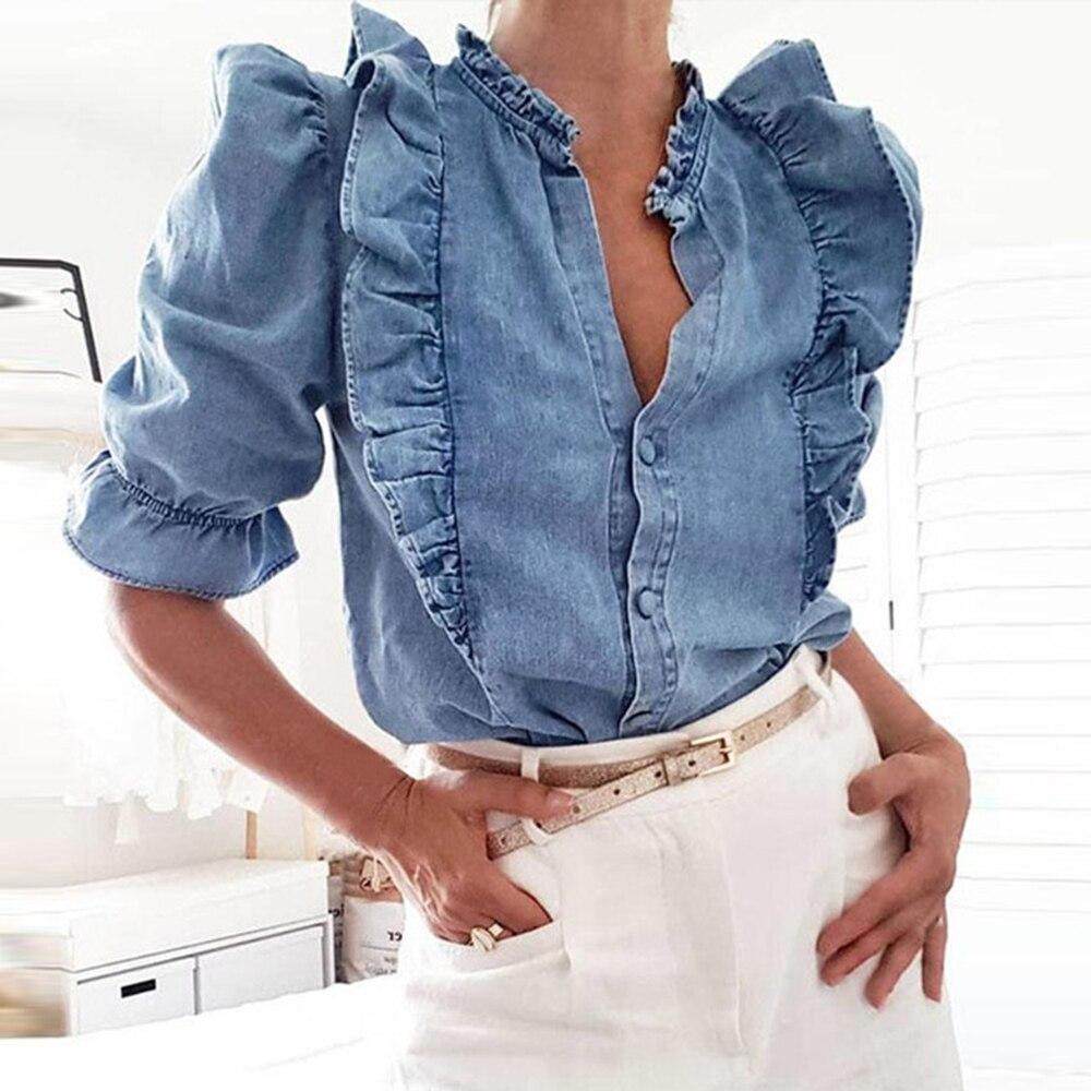 WENYUJH High Street Cascading Ruffles Puff Sleeve Denim Blouse Women Blusas Mujer De Moda 2020 Shirt Womens Tops And Blouses