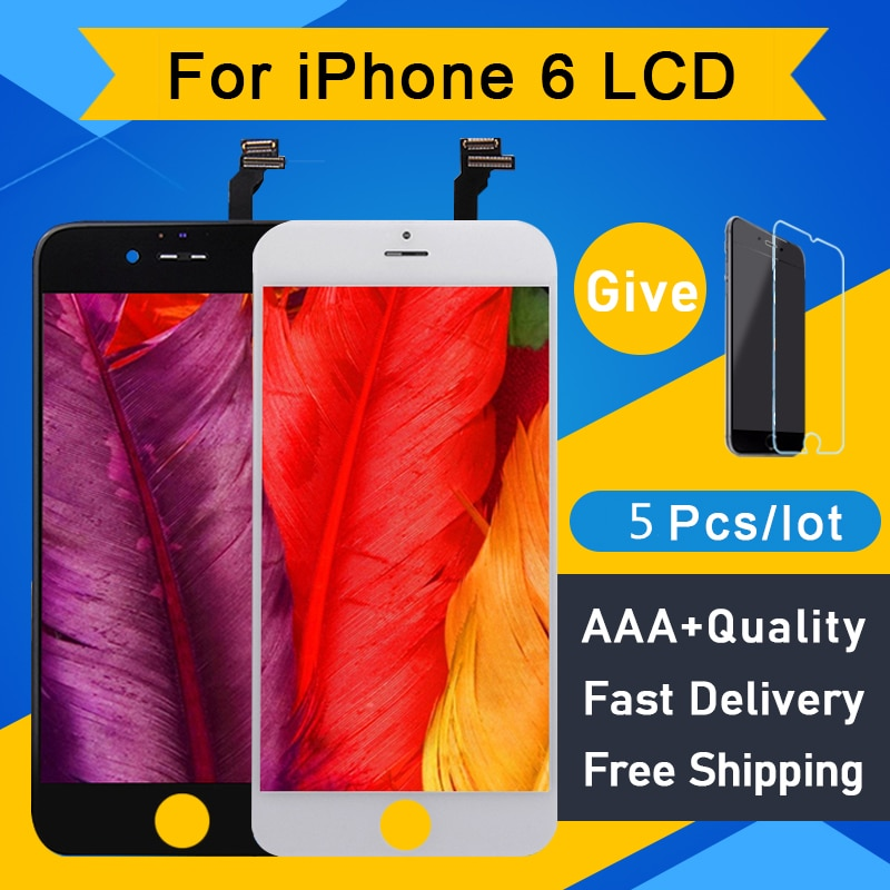 5Pcs/Lot AAA+++ No Dead Pixel For IPhone 6 LCD Display Screen Digitizer Assembly Replacement Pantalla 4.7 Perfect Repair Screen