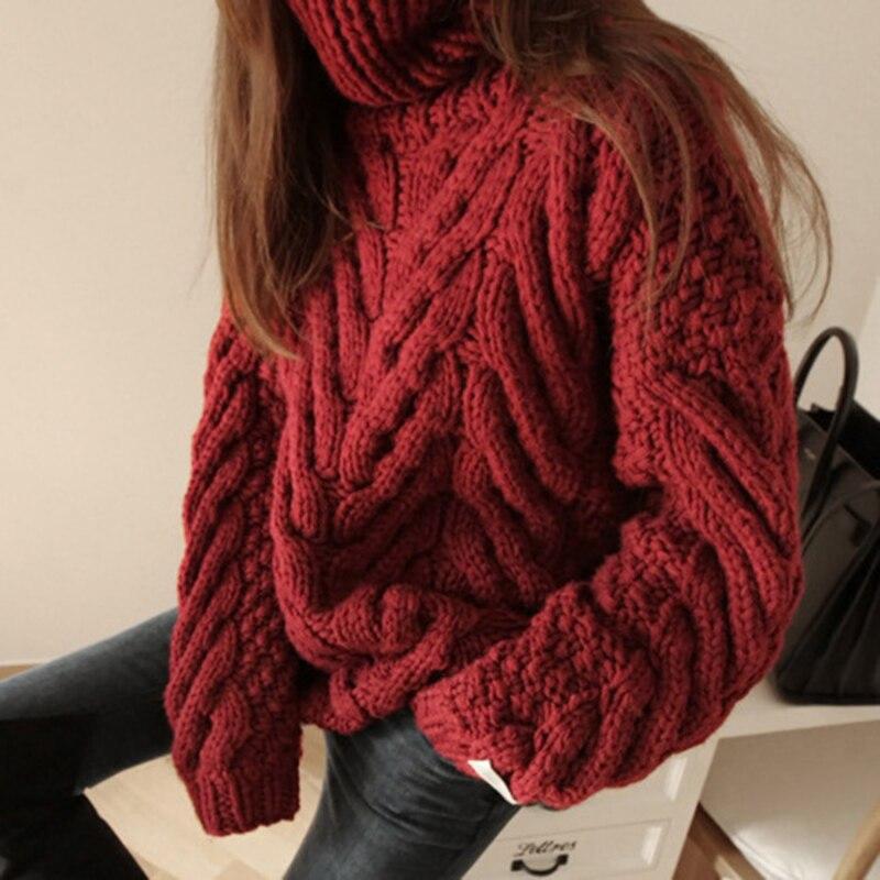 Otoño Invierno nueva de Corea mujeres de moda de manga larga cuello de tortuga Cruz suéter suelto Casual grueso caliente jerseys suéter S334