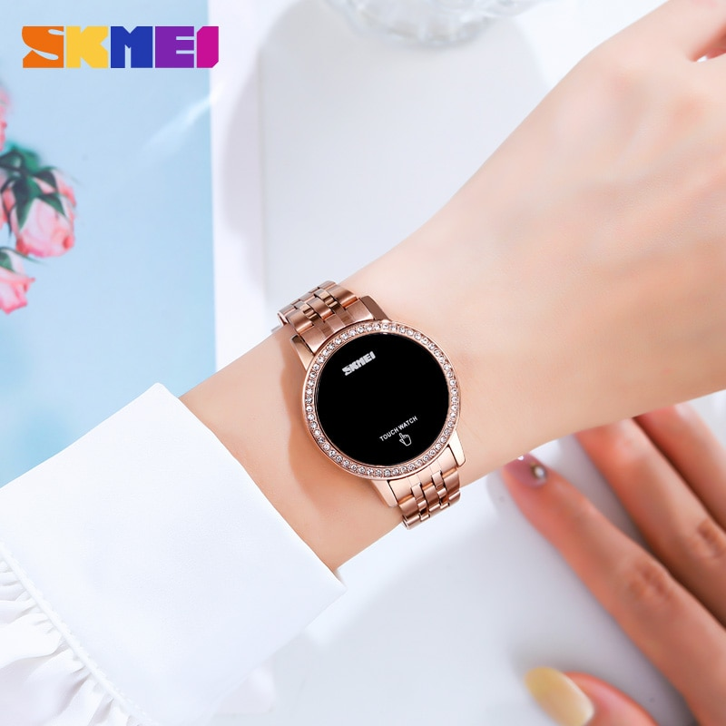 SKMEI Digital LED Touch Women Watch Diamond Waterproof Ladies Wristwatches Simple Date Time Watches For Female reloj mujer 1669 enlarge