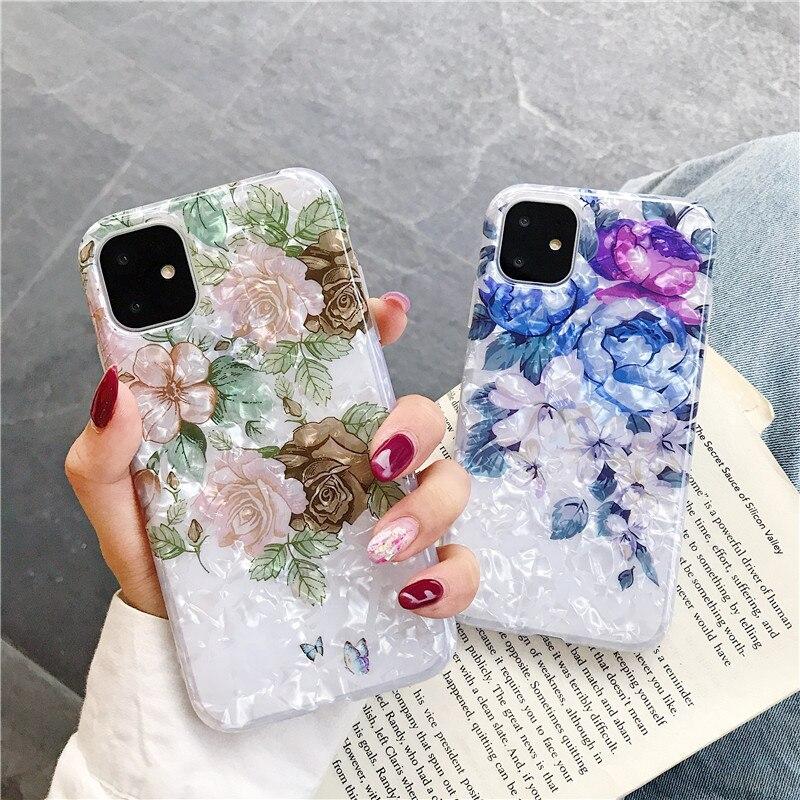 GYKZ Retro Floral caso cubrir para iPhone 7 11 Pro XS MAX XR 8X6 6s Plus de flores de moda, chica del teléfono suave Coque Bling sueño Shell