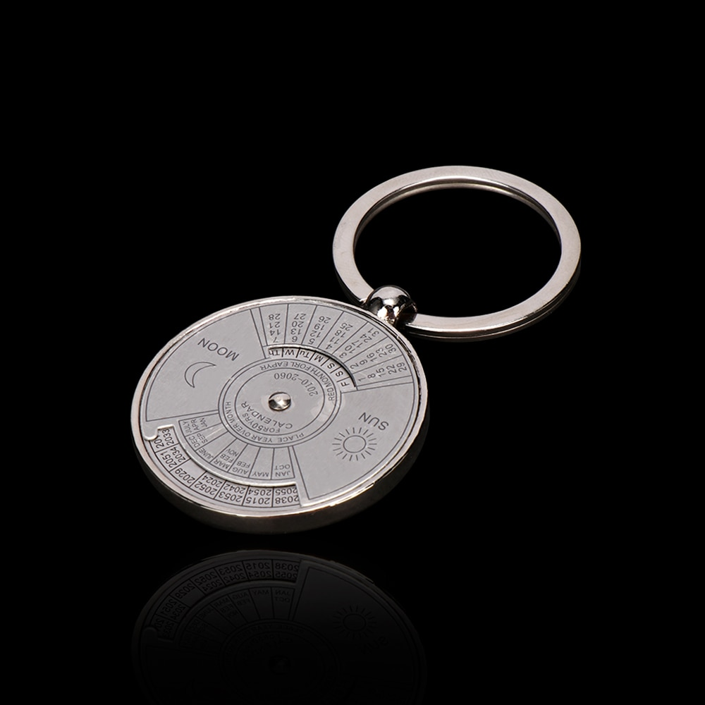 Personality 50 Year Calendar Key Chain Mini Metal Ring Compass Keyring Keyfob Hiking Camping Outdoor Sports Survival Tools