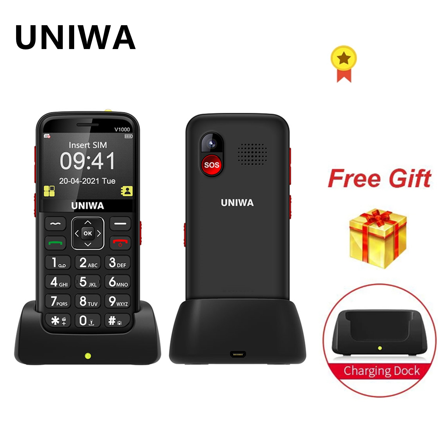 UNIWA V1000 Mobile Phone 2.31inch 4G LET Big Button Feature Phone Bluetooth Flashlight 1700mAh Russian Hebrew Keyboard Cellphone