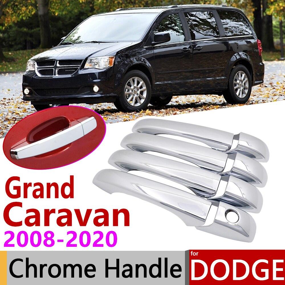 Para Dodge Grand Caravan MK5 2008 ~ 2020 cromo cubierta de la manija de la puerta de coche accesorios pegatinas Trim Set 2009 de 2011 a 2013 2015, 2018, 2019,