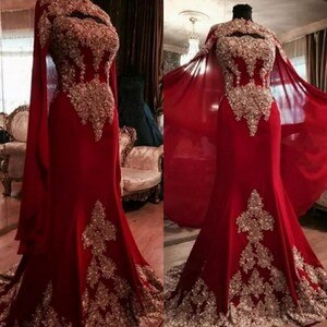 Muslim Evening Prom Dress 2020 Mermaid Celebrity Long Woman Party Night Red Dress Plus Size Arabic Dubai Sari Formal Dress Gown