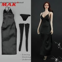 in stock female black evening dress stockings clothes 16 scale f 12 figure body zy5025