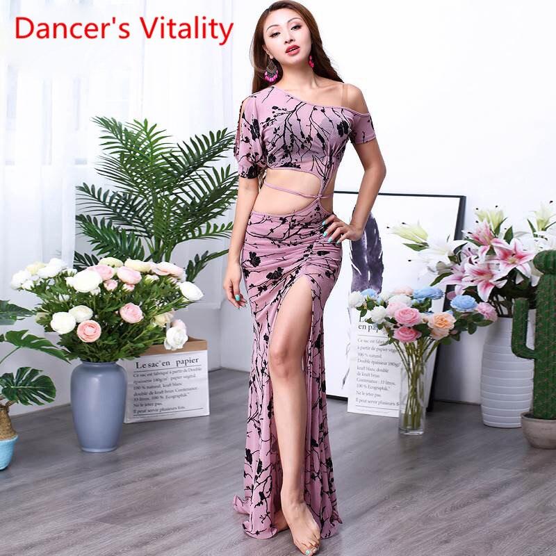 Woemn-فستان رقص شرقي مثير للنساء ، زي أداء مطبوع ، مقاس M ، L